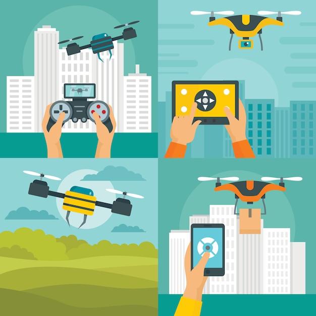 Drohne quadcopter Premium Vektoren