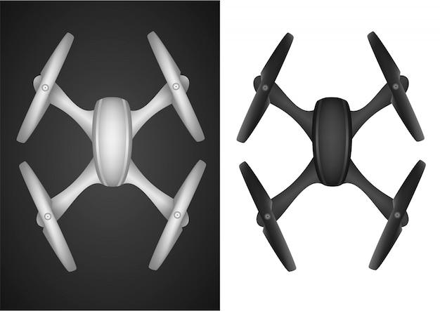 Drohne quadrocopter funkfliege Premium Vektoren
