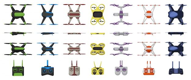 Drohnen-cartoon-set-symbol. illustration quadcopter auf weißem hintergrund. cartoon set icon drohne. Premium Vektoren