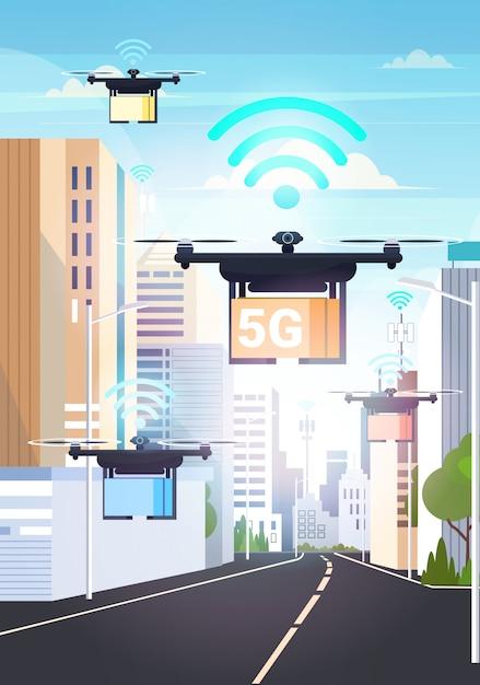 Drohnen fliegen mit pappkartons über smart city 5g online-netzwerk drahtlose systemverbindung express air delivery-konzept Premium Vektoren