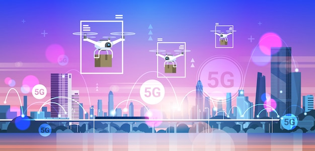 Drohnen fliegen über stadt 5g online-kommunikationsnetzwerk drahtlose systeme verbindung express-zustellungskonzept Premium Vektoren