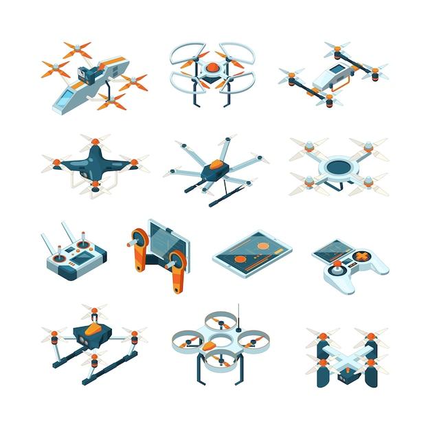 Drohnen. flugzeuginnovation lufttechnik luftfahrtbilder isometrisch Premium Vektoren
