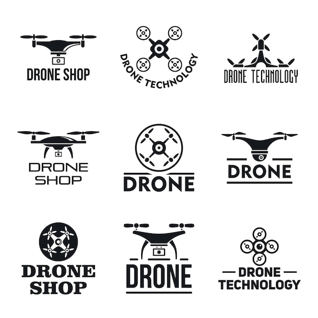 Drohnen-logo gesetzt Premium Vektoren