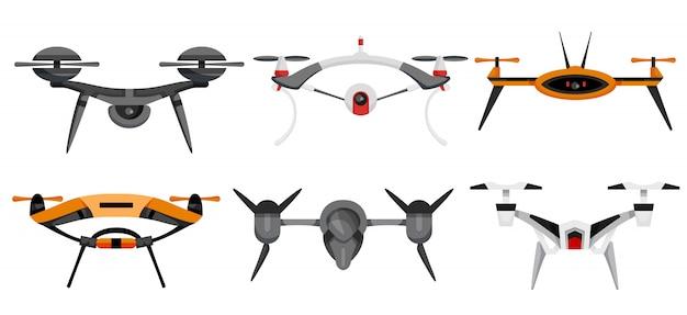 Drohnen. luftdrohnen schweben. luftfahrzeug. unbemannte flugzeuge. set moderner luft-gadjet, quadrocopter auf fernbedienung. flache karikaturart der flugzeugkamera Premium Vektoren