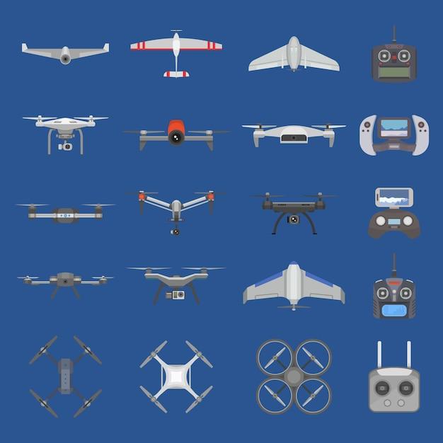 Drohnen-quadcopter-technologie und fliegerhubschrauber-fernsteuerungsflug mit digitalkamera-illustrationssatz des fliegenspion-roboter-copters mit quadrocopter-propeller lokalisiert auf hintergrund Premium Vektoren