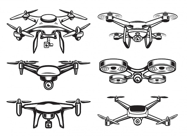 Drohnen-quadrocopter-logo, emblem Premium Vektoren