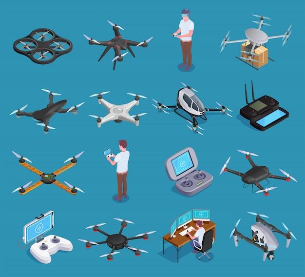 Drohnen quadrocopters isometric set Kostenlosen Vektoren