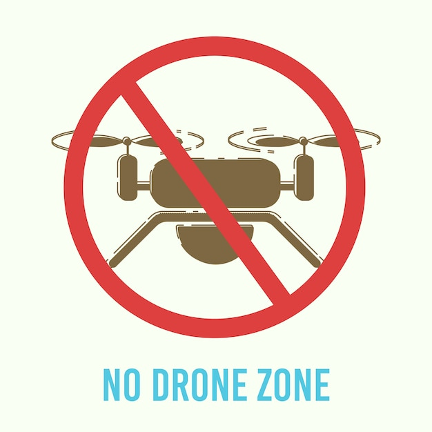 Drohnenflüge verbot warnschild flach Premium Vektoren