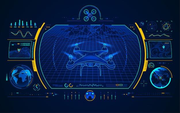 Drohnensteuerungsschnittstelle Premium Vektoren
