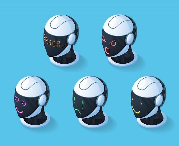 Droid emotions icon set Kostenlosen Vektoren