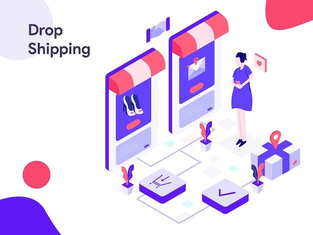 Drop shipping isometrische abbildung Premium Vektoren