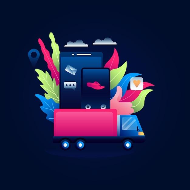 Dropshipping-konzeptillustration des on-line-einkaufens mit dem auto des kastens auf mobile Premium Vektoren