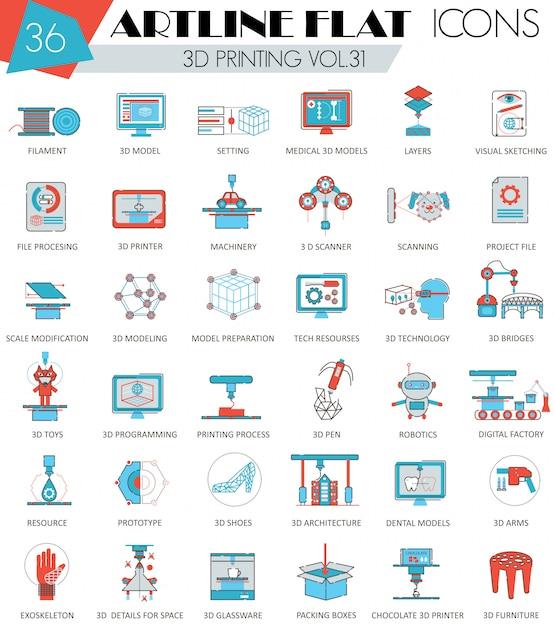 Druck 3d, der die flache linie ikonen eingestellt modelliert Premium Vektoren
