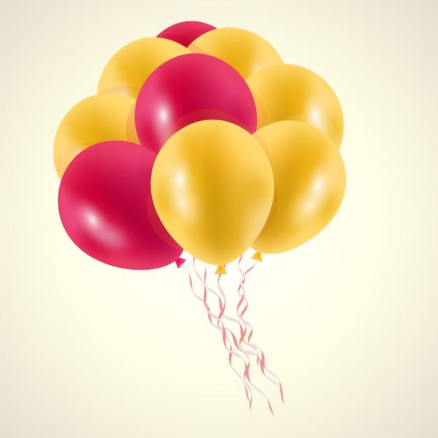 Druck ballons goldgelb Premium Vektoren