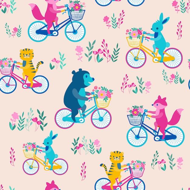 Druck tier fahrrad rosa Premium Vektoren