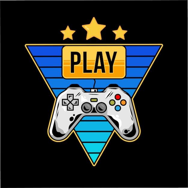 Druckdesign mit gamepad für arcade-videospiele und goldknopf Premium Vektoren
