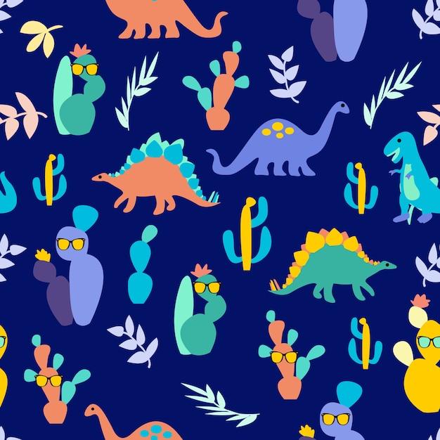 Drucken dinosaurier-muster Premium Vektoren