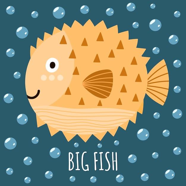 Drucken sie mit einem niedlichen fisch und einem großen fisch des textes. Premium Vektoren