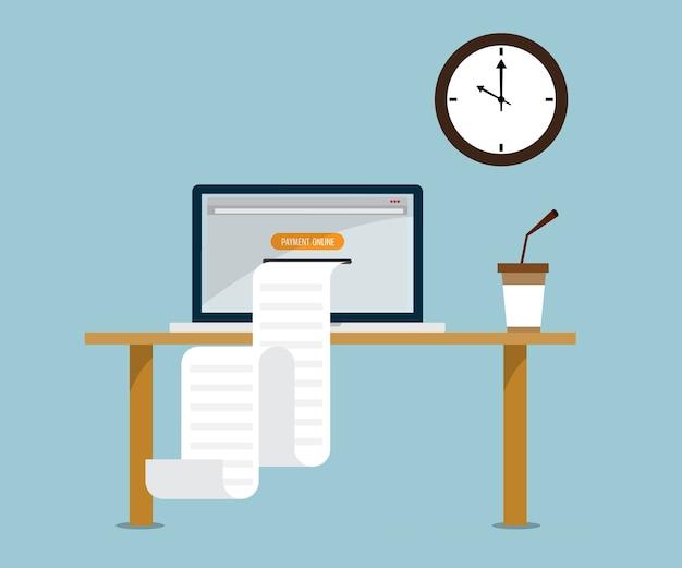 drucken sie online rechnung von laptop vektor illustration. Black Bedroom Furniture Sets. Home Design Ideas