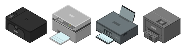 Drucker-icon-set, isometrische stil Premium Vektoren