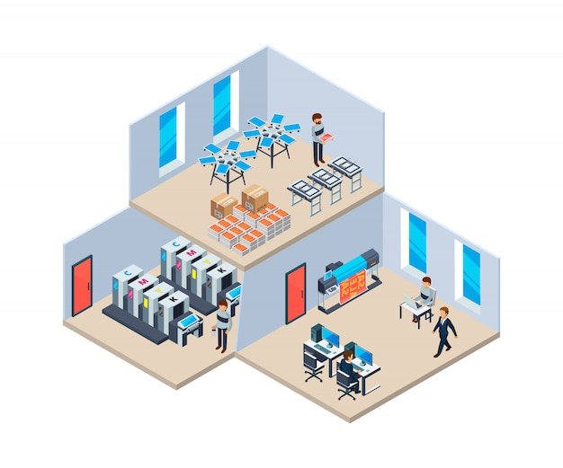 Druckerei. produktionsindustrie polygraphie drucktechnologie unternehmen innenraum der druckerei Premium Vektoren