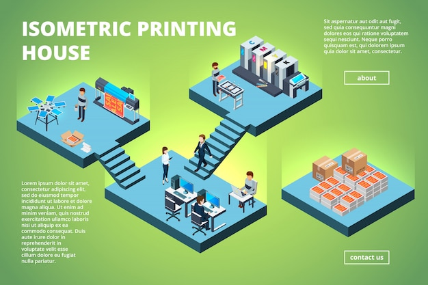 Druckereigebäude, industrieller druckproduktionsbüroinnenraumtintenstrahloffsetveröffentlichungsmaschinen-kopierer-drucker isometrisch Premium Vektoren