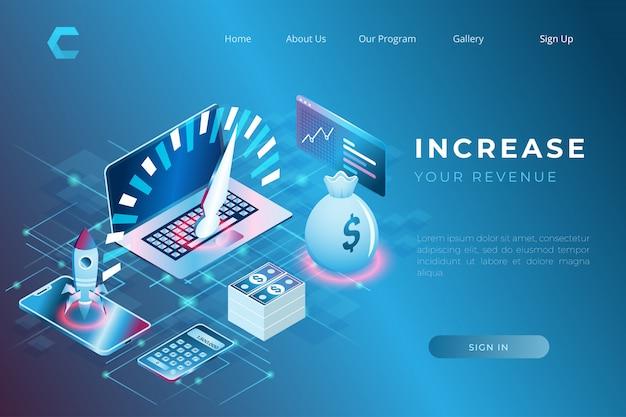 Druckillustration von investitions- und finanzlösungen zur steigerung von einkommen und wirtschaftswachstum im isometrischen 3d-stil Premium Vektoren