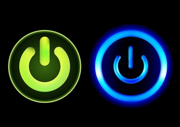 Drucktasten power in grün und blau Premium Vektoren
