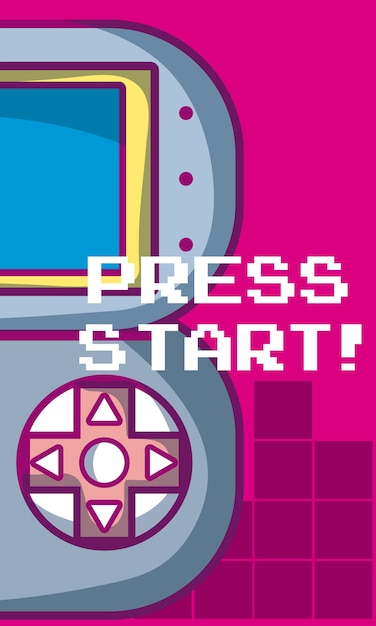 Drücken sie anfangsvideospielfahne mit gamepadvektor-illustrationsgrafikdesign Premium Vektoren