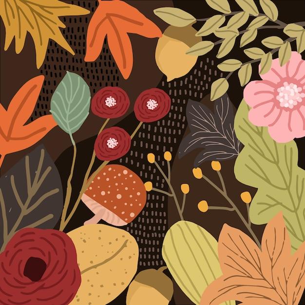 Dschungel mit herbstblumenhintergrund Premium Vektoren