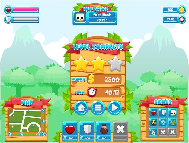 Dschungel-spiel-schnittstelle Premium Vektoren