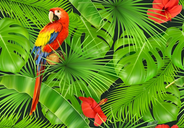 Dschungelblätter und papagei, nahtloses muster. 3d-vektor realistisch Premium Vektoren