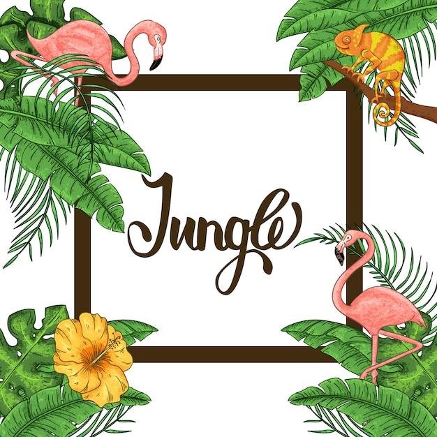 Dschungeleinladung mit flamingo, chamäleon und palmblättern Premium Vektoren