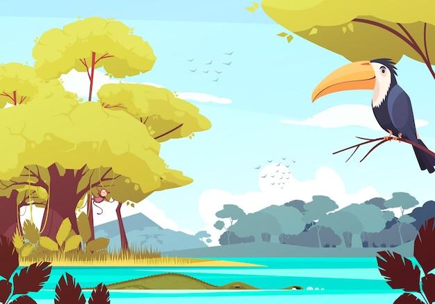 Dschungellandschaft mit affen auf baum, krokodil im fluss, vogelschwarm in der himmelkarikaturillustration Kostenlosen Vektoren