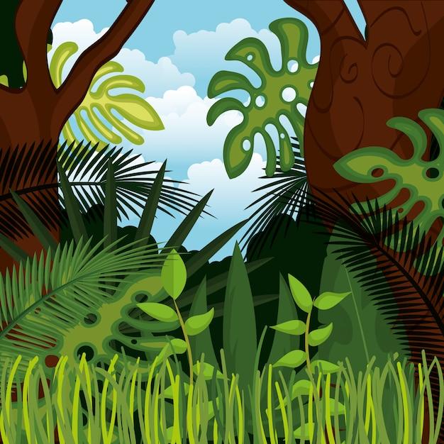 Dschungellandschaftshintergrund lokalisiertes ikonendesign Premium Vektoren