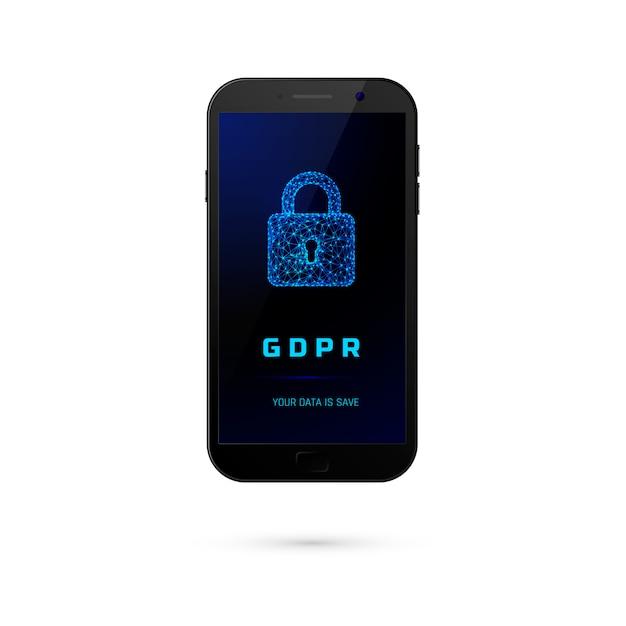 Dsgvo - allgemeine datenschutzsicherheit. telefon mit vorhängeschloss auf dem bildschirm auf weißem hintergrund. illustration Premium Vektoren