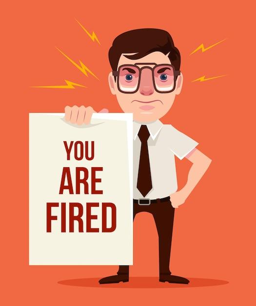 Du bist gefeuert. wütender chef. flache karikatur Premium Vektoren