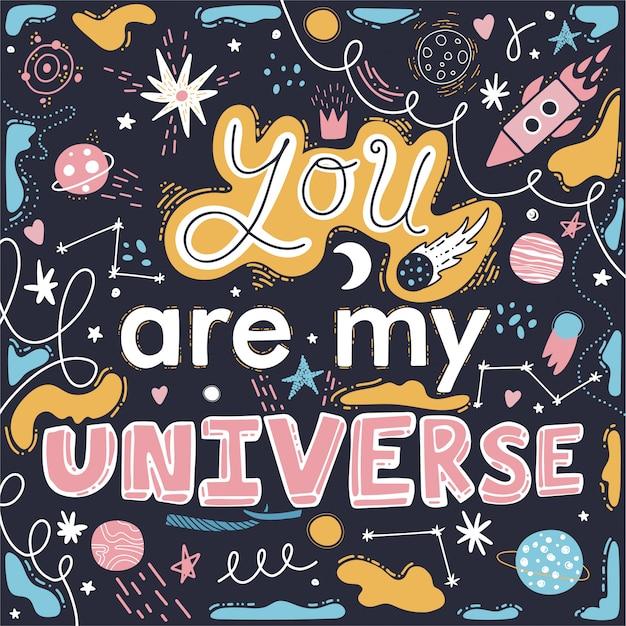 Du bist mein universum. raketen, sterne, planeten. Premium Vektoren