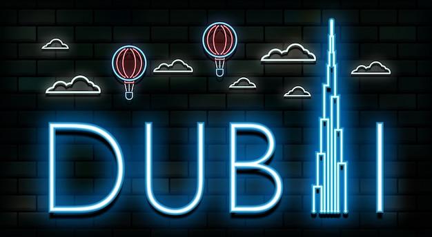 Dubai-reise und neonlichthintergrund der reise. Premium Vektoren