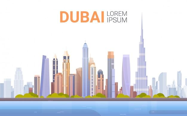 Dubai-skyline-panorama, moderne gebäude-stadtbild-geschäftsreise und tourismus-konzept Premium Vektoren