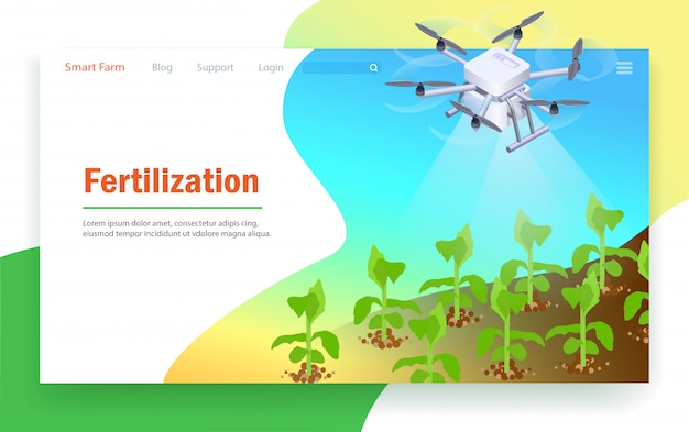 Düngung in smart farm. Premium Vektoren