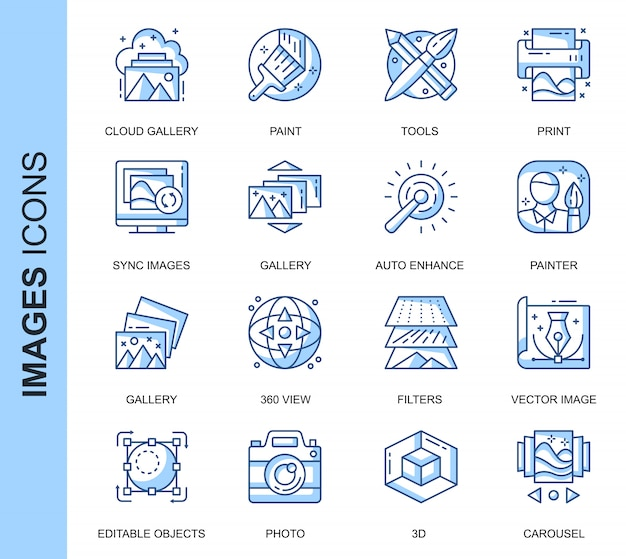 Dünne linie bilder in verbindung stehende ikonen eingestellt Premium Vektoren