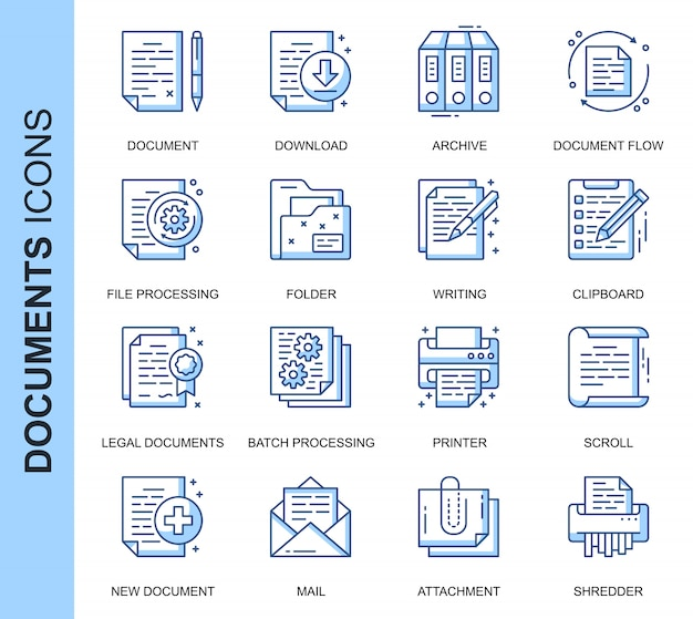 Dünne linie document related icons set Premium Vektoren