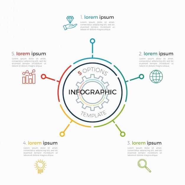 Dünne linie infografik vorlage 5 optionen. editierbarer diagrammstrich. Premium Vektoren