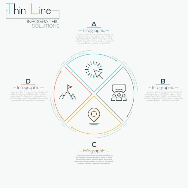 Dünne linie infographic pizzakreisschablone des minimalen pfeilgeschäfts Premium Vektoren