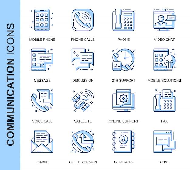 Dünne linie kommunikationsbezogene ikonen eingestellt Premium Vektoren