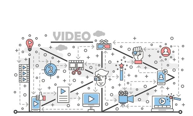 Dünne linie kunstvideoillustration des vektors Premium Vektoren