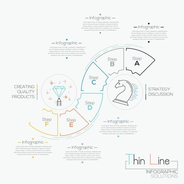 Dünne linie minimale infografiken optionen banner mit prozessvorlage Premium Vektoren