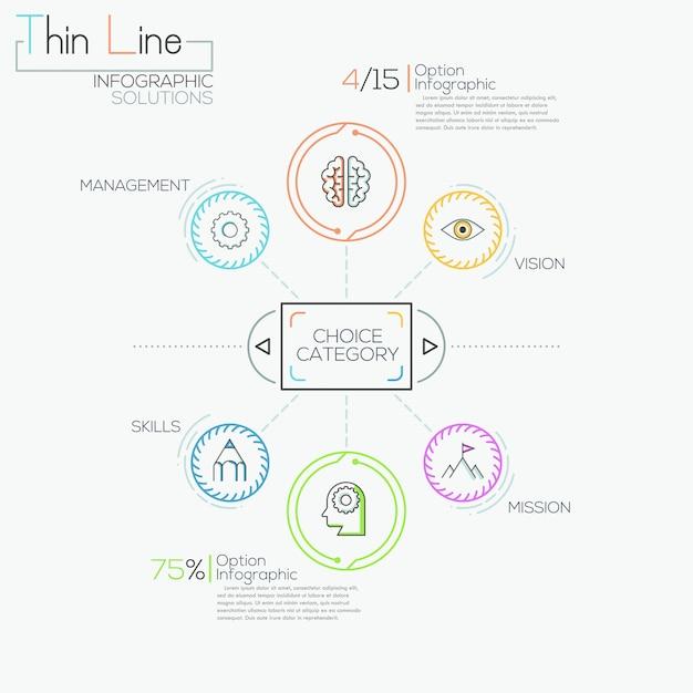 Dünne linie minimale infografiken optionen banner Premium Vektoren