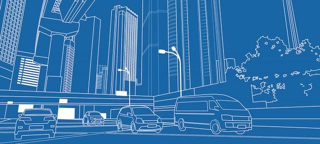 Dünne linie mit wolkenkratzern und autos auf der straße Premium Vektoren